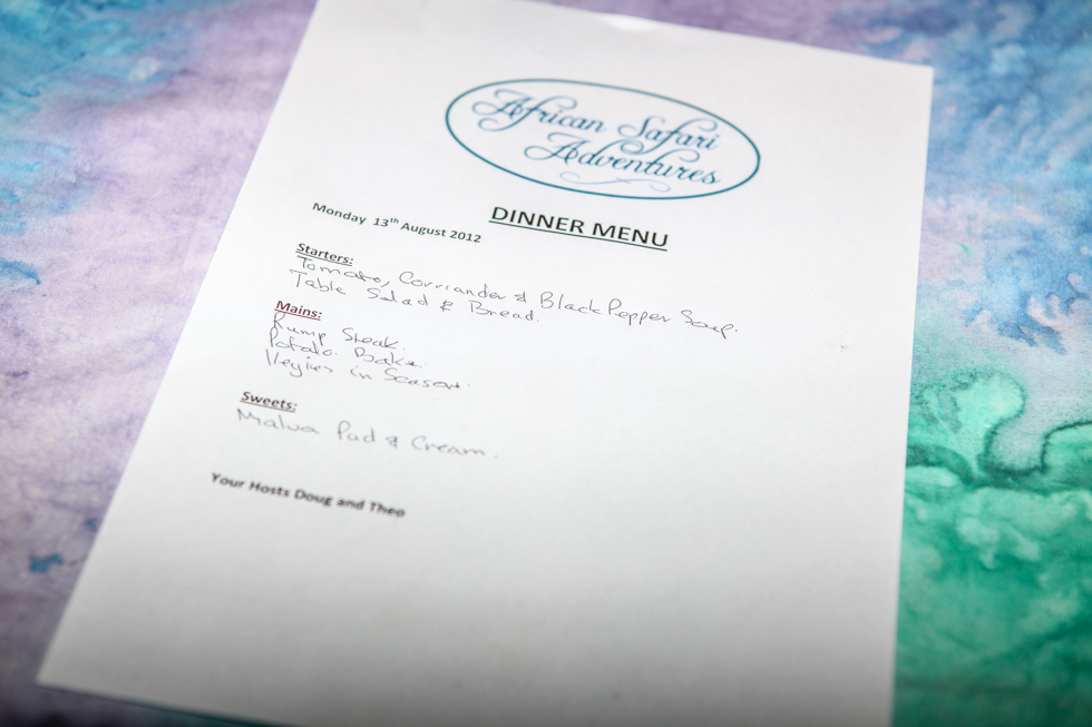Dinner Menu, Maroela Camping Safari