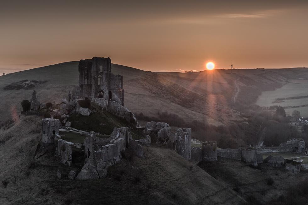 Sunrise, Corfe Castle, Jurassic Coast, Dorset, UK