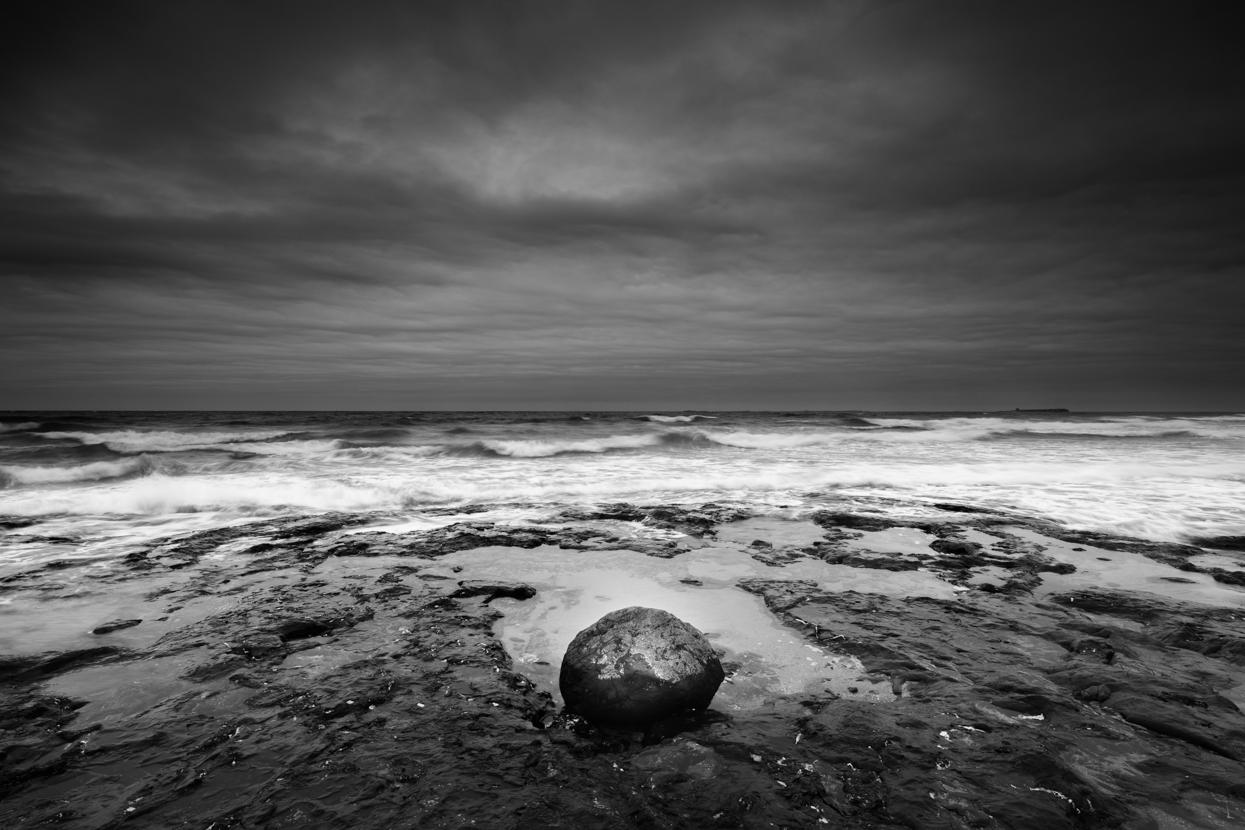 Approaching Storm with Stone, Bamburgh, Northumberland