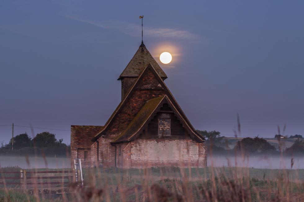 St Thomas A Becket Church with Supermoon, Fairfield, Kent