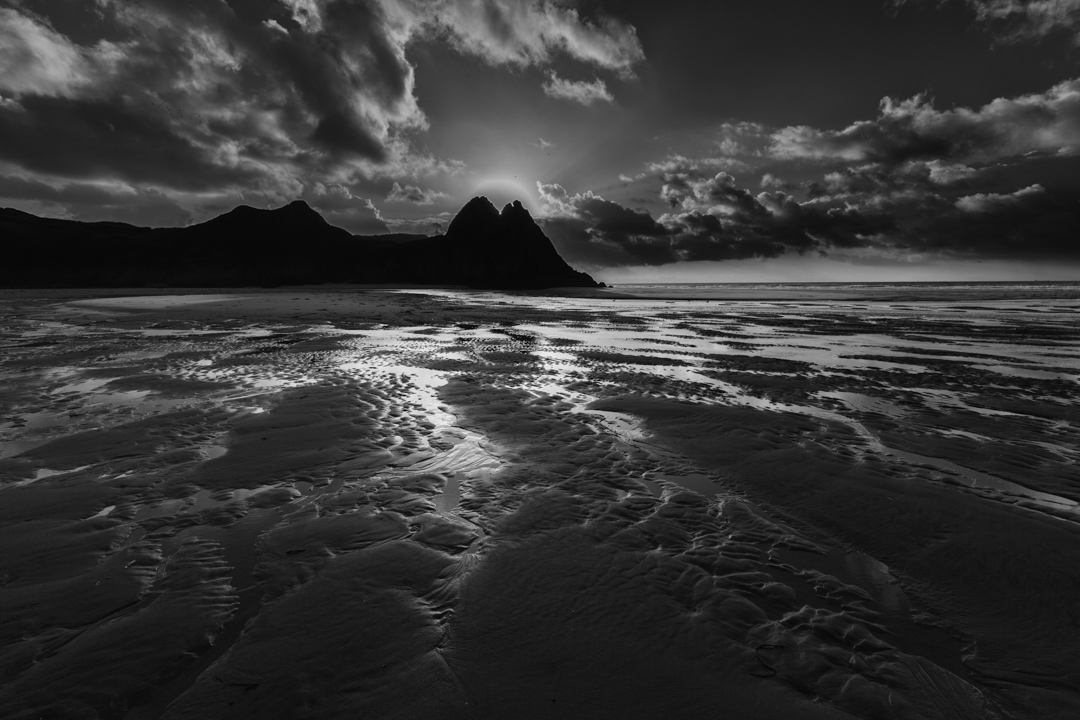Sunrise, Three Cliffs Bay, Gower Peninsula, Wales, UK