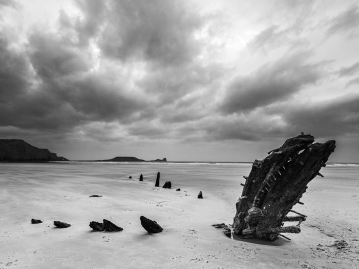 The Remains Of The Helvetia, Rhossili Beach, Gower Peninsula, Wales