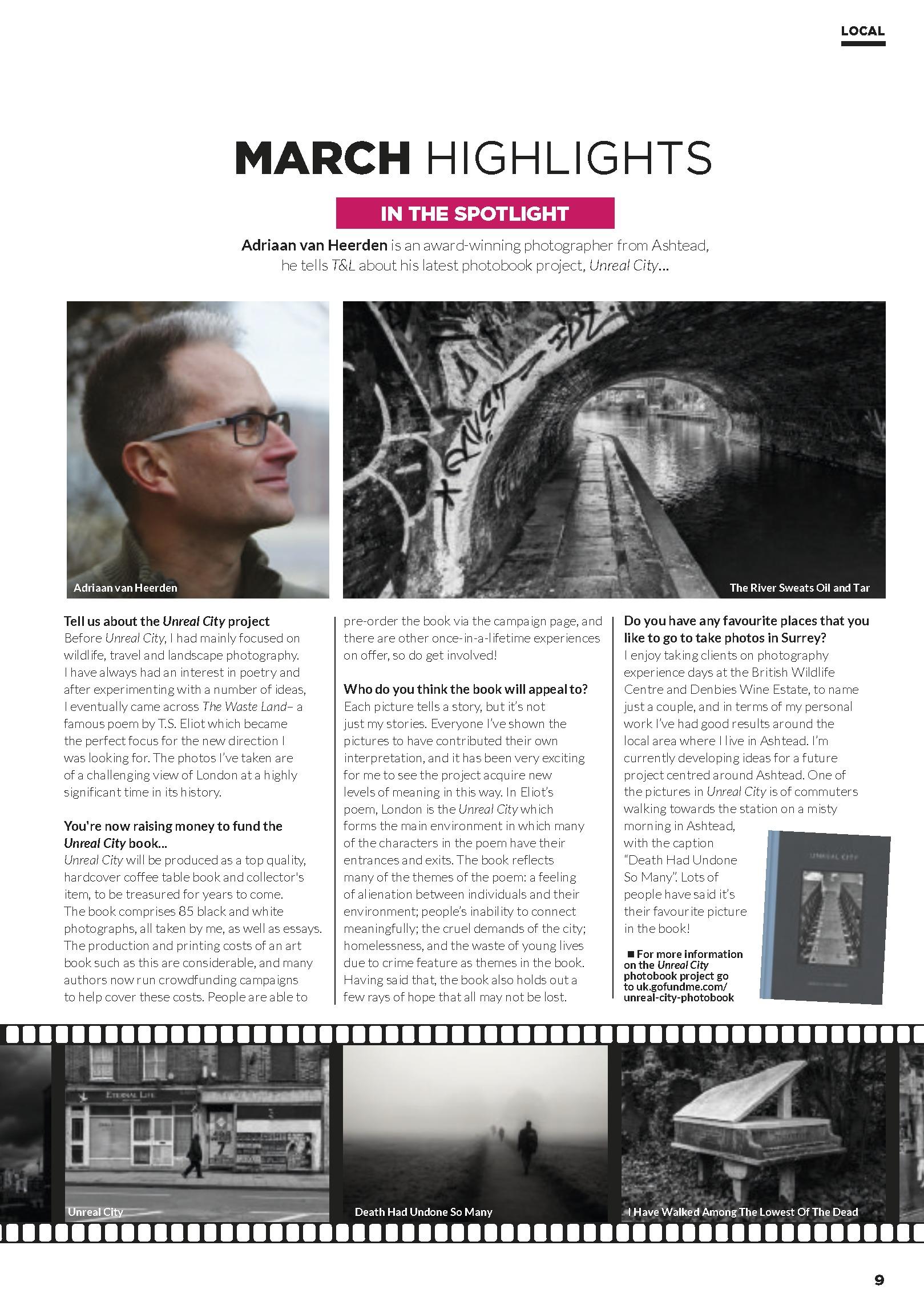 Adriaan van Heerden Unreal City interview for Time and Leisure Magazine March 2019